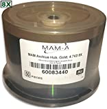 4.7 GB MAM-A (Mitsui) GOLD 8X DVD+R's (Archival-grade) 50-pak in Cakebox