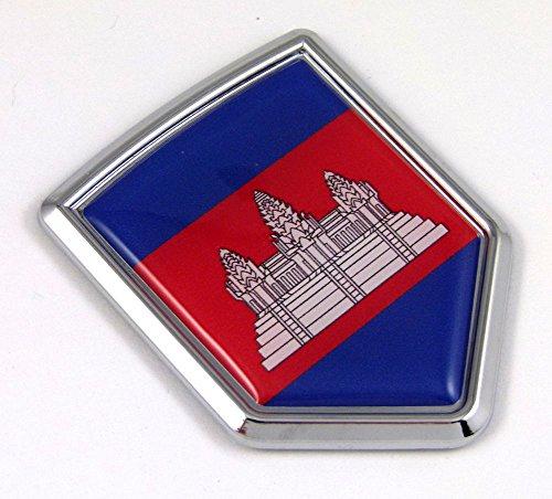 (Cambodia Flag Car Chrome Emblem Decal 3D bumper Sticker bike Crest)