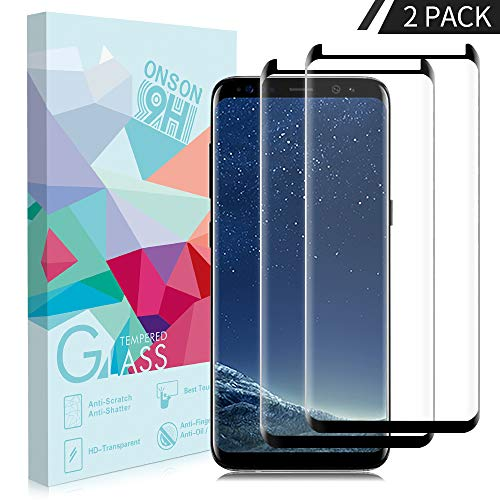 - ONSON Galaxy S8 Screen Protector, [No Bubble][9H Hardness] [Anti-Scratch][Case-Friendly] Tempered Glass Screen Protector Compatible Samsung Galaxy S8