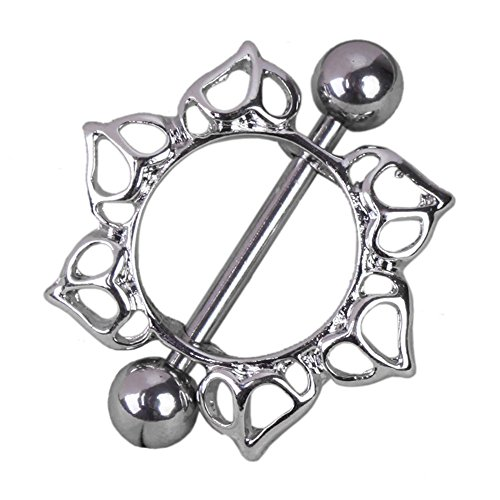 R) Flower Rhinestone Diamante Barbell Belly Button Nipple Ring Body Piercing (Diamante Button)