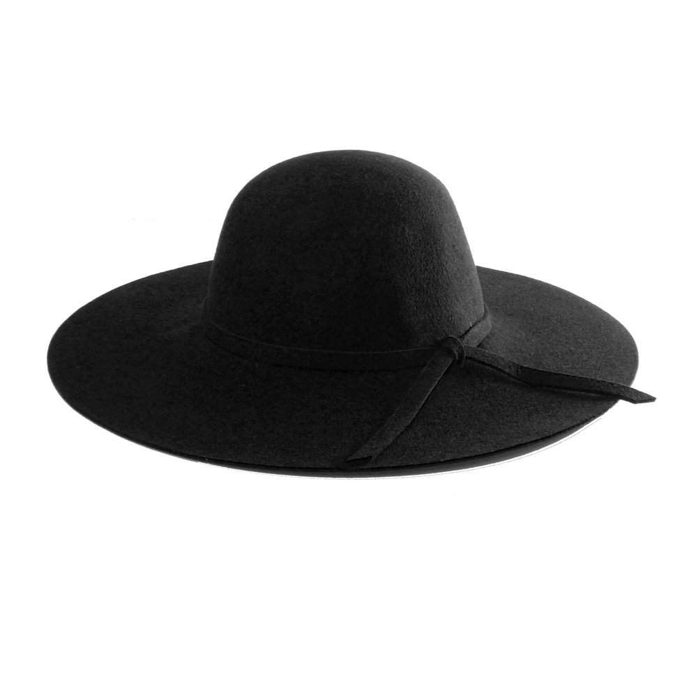 Accessoryo Ladies 100% Wool Black Floppy Fedora/Summer Hat with Bow Band Detail