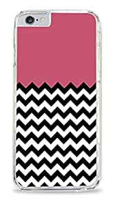 Black And White Glitter Colorblock Chevron Pattern Clear Hardshell Case for iPhone 6 (4.7)