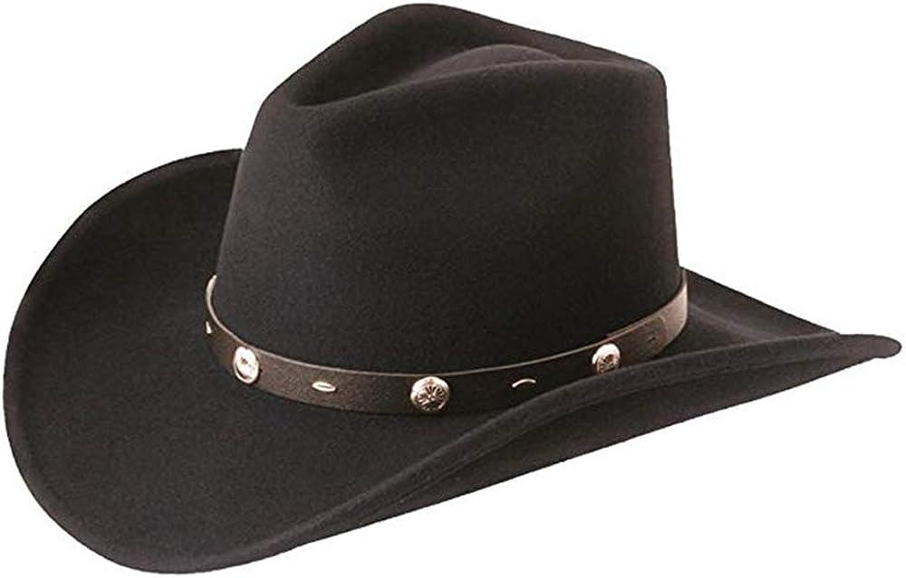 Major Wear - Sombrero de vaquero de fieltro 100% lana con hebilla en color negro, 4 tamaños