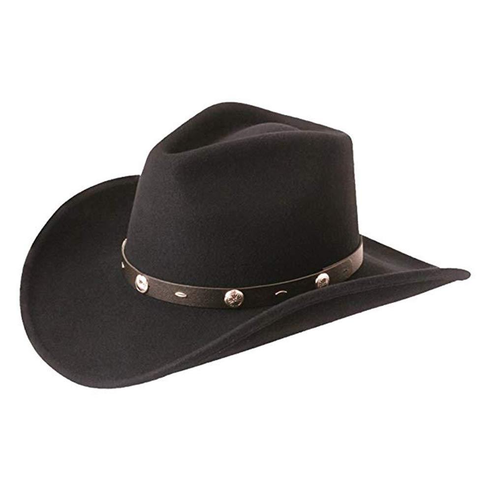 Major Wear Official 100% Wool Felt Cowboy Hat Buckle Band in Black - 4 Sizes