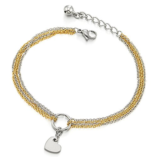 COOLSTEELANDBEYOND Stainless Steel Multi-Strand Anklet Bracelet with Dangling Charms of Heart Silver Gold