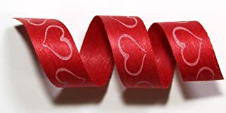 "product image for 100% Biodegradable Natural Ribbon | Prints & Stripes | Ribbon for Crafts | Cotton Curling Ribbon | Holiday Ribbon | Wrapping Ribbon | Eco-Friendly Ribbon (Flip Flop Hearts, 1/2"" x 100 Yards)"