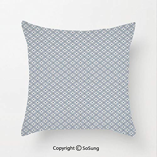 Geometric Linen Throw Pillow Cushion,Circular Shapes Pattern with Oval Details and Plus Signs Modern Abstract,15.7x15.7Inches,for Sofa Bedroom Car & Home Decorate Slate Blue White