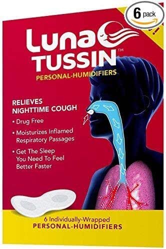 LunaTussin Personal Humidifier Strips, Nasal Vapor Pads, Aid with Nighttime Coughing, Dry Nose, Dry Throat, Allergies, and Sinus Relief (6 Pack)