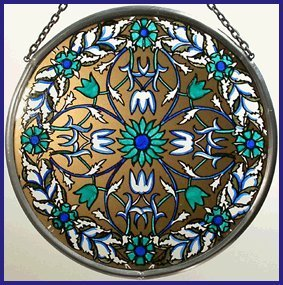 Decorative Hand Painted Stained Glass Window Sun Catcher/Roundel in a Golden Blue Garland William Morris Design. BlueGarland