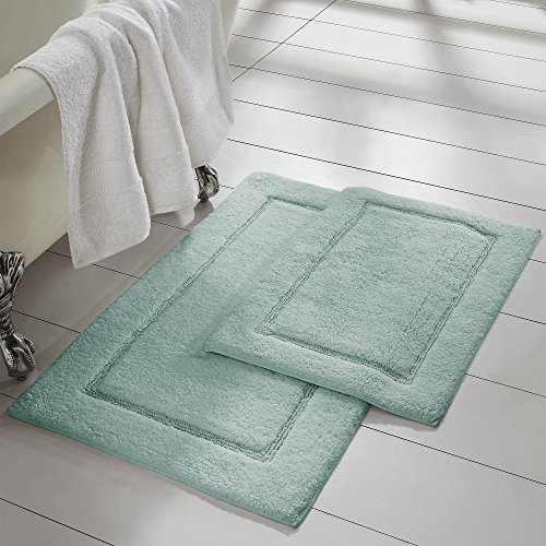 Spa Blue Rug - Amrapur Overseas 2-Pack Solid Loop with non-slip backing Bath Mat Set (17-inch by 24-inch/21-inch by 34-inch), Spa Blue