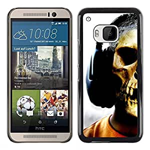Be Good Phone Accessory // Dura Cáscara cubierta Protectora Caso Carcasa Funda de Protección para HTC One M9 // Skull Headphones Music Art Skeleton Man