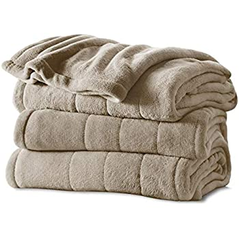 Sunbeam Heated Blanket | Microplush, 10 Heat Settings, Mushroom, Twin - BSM9KTS-R772-16A00