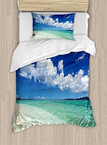 Ambesonne Ocean Duvet Cover Set Twin Size, Island Sea Life Wavy Vivid Open Sunny Sea Shore Sand Beach Art Print Image, Decorative 2 Piece Bedding Set with 1 Pillow Sham, Bue Teal Cream White (Sea Art Open)