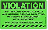 MyParkingPermit Violation Vehicle is Parked Illegally and is Hereby Subject to Booting, Fluorescent Stickers, 50 Stickers/Pack, 8'' x 5''