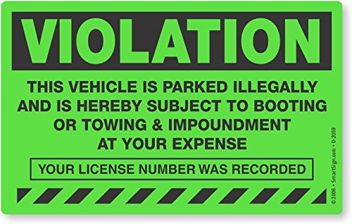 MyParkingPermit Violation Vehicle is Parked Illegally and is Hereby Subject to Booting, Fluorescent Stickers, 50 Stickers/Pack, 8'' x 5'' by MyParkingPermit (Image #4)