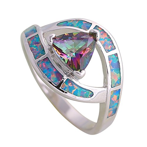 New 2018 Fashion Opal Rings Fine Jewelry Women's Ring Mystic Rainbow Red Fire Opal 925 Sterling Silver Ring Size 6 7 8 9 10 R347 (7)