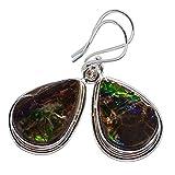 """Rare Ammolite 925 Sterling Silver Earrings 1 1/2"""" - Handmade Jewelry EARR358410"""