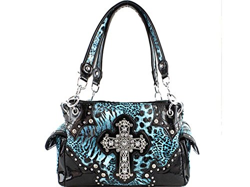Texas West Leopard Cross Conceale Carry Women's Handbag Purse in 4 Colors. New with Fast Shipping. (Blue) -