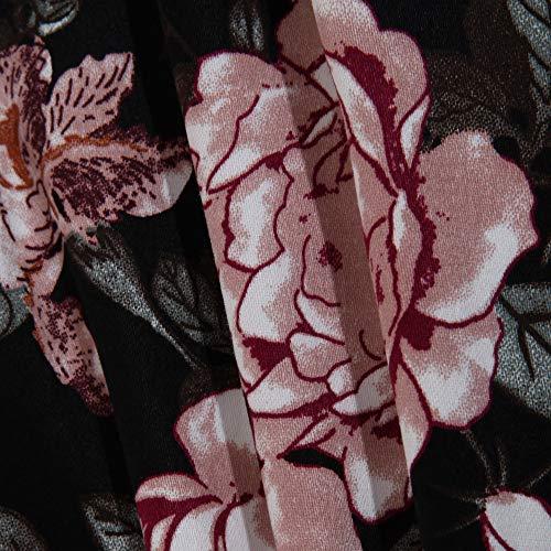 forti Vestito estate Trimestre Floreale ▾ Nero drappeggiato Stampato donna Felpe taglie Manica vestiti Cocktail Vintage donna Tre Donne Sera Festa Rawdah da fEqIRx