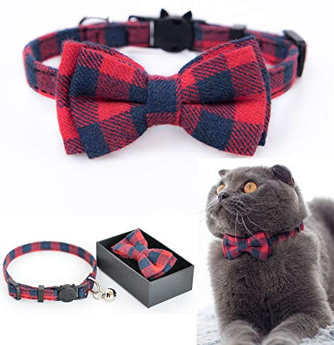 M-YOUNG Cat Collar Breakaway with Bell and Bow Tie, Plaid Design Adjustable Safety Kitty Kitten Collars(6.8''-10.8'') (Red Plaid)