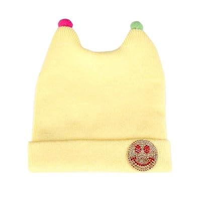 d789dfa8c78 Bonnet Uni Bébé Fille Garçon 0-6 Mois Bonnet Tricot Chapeau en Laine ...