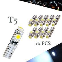 10pcs Car T5 3528 3SMD Wedge Xenon WHITE LED Light Bulbs 17 18 27 37 58 70 74 2721
