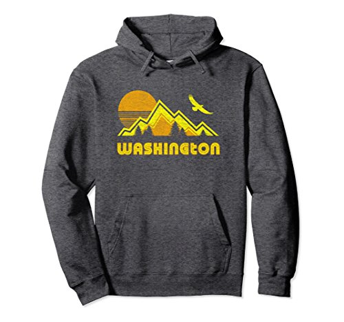 Unisex Washington Hoodie Retro Style Pullover Sweatshirt Large Dark Heather (Washington Retro Color)