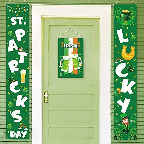 St Patrick Decorations (Geefuun St. Patrick's Day Decorations Banner - Saint Shamrock Porch Sign Leprechaun Decor Hanging Front Door Indoor Outdoor)