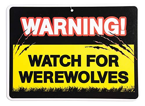 Warning Sign Watch Out for Vampires Werewolves Halloween Party Decorations -