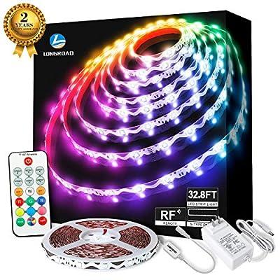 LED Strip Lights, 32.8ft RGB Colored LED Light Strip with RF remote controller, 24 volt LED Tape Lights Kits Color Changing LED Strip Lights for Home Bedroom Lighting, Flexible Strip Lights for Bar Ho