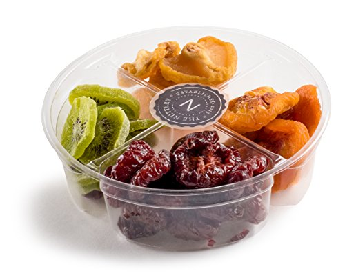The Nuttery Dried Fruit Mix Gift Set- Holiday 4 Sectional Gift Basket- Gourmet Dried Fruit Gift Tray