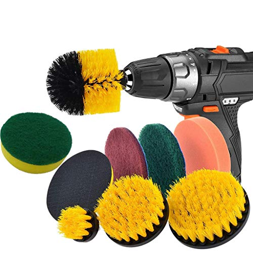 Little Story  Cleaning Brush, Drill Brush Scrub Pads 9 Piece Power Scrubber Cleaning Kit All Purpose Cleaner Scrubbing Cordless Drill for Cleaning Pool - Plate Cover Polypropylene Clear