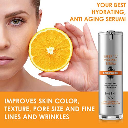 51926tchcaL - Energize Vitamin C Serum for Face & Eyes - Clinical Strength Collagen Booster with Triple Vitamin C - Dermatologist Developed Skin Care For Anti-aging, Fades Dark Spots and Repairs Sun Damage 1oz