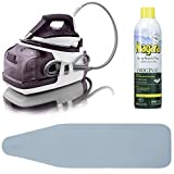 Rowenta DG8520 Eco Energy Perfect Steam Iron Station Garment Steamer + Ironing Board Cover and Starch Spray