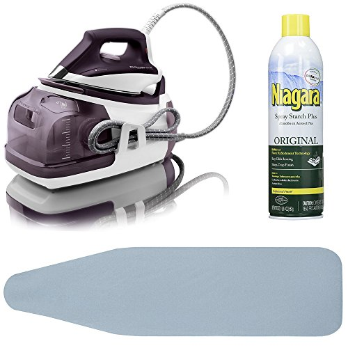 Rowenta DG8520 Perfect Steam 1800-Watt Eco Energy Steam Iron Station Stainless Steel Soleplate + Ironing Board Cover and Starch Spray