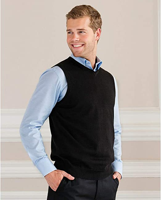 Russell Collection Mens V-Neck Sleevless Knitted Pullover Top//Jumper