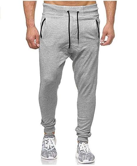 Pantalones CháNdal Hombre,ZARLLE Hombre Moda Pantalones Color SóLido PantalóN De CháNdal con CordóN Slim Pies Estrechos Casuales Largos Pantalones De ...