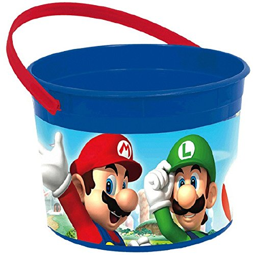 Amscan Super Mario Brothers Birthday Party Favor Bucket Container, Blue/Red, 4 1/2
