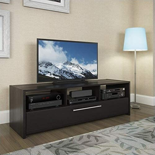 Atlin Designs TV Component Bench in Wood Grain Black
