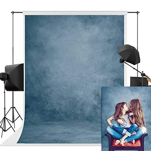 Allenjoy 5X7FT Printed Blue Texture Abstract Backdrop for Portrait Photography Old Master Vintage Shooting Background Photo Studio Head Shots Props Baby Shower Newborn Photography