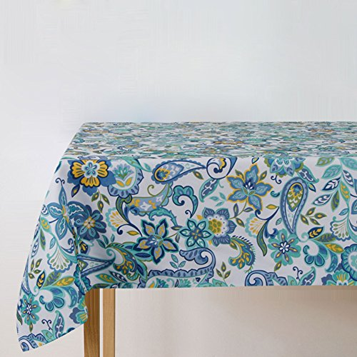 Eforcurtain Modern Fashion Paisley Flowers Fabric Table Cloth 60 by 84 Inches, Waterproof Stain Resistant Table Cover Oblong Spill Proof, Multi/Green ()