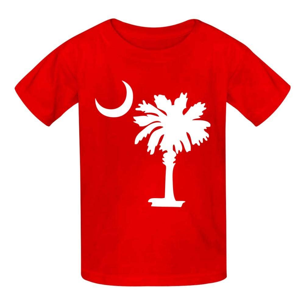 Donoii South Carolina Flag Sign Basic Daily Wear Cotton Cool Graphic T Shirts for Girls and Boys