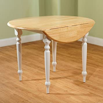 Round Drop-Leaf Dining Table, White/Natural Charming turned legs rubber wood