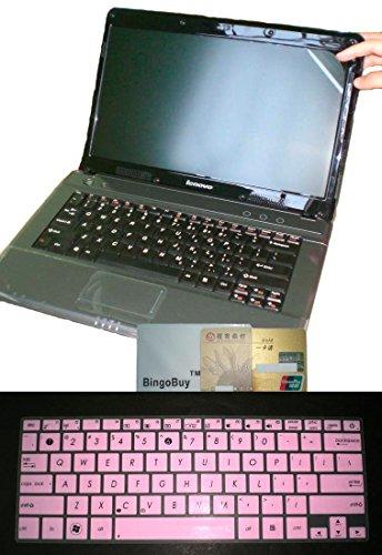 (US Layout Keyboard Cover+11.6'' Anti Glare Screen Protector for Asus W202 E203NAH E200HA X200CA X200MA K200MA X202E X205TA F202E F200MA F200LA TP200SA TP201SA TX201LA T200TA Taichi 21(Light Pink))