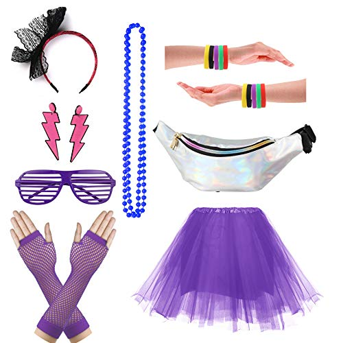 CSG Women's 80s Outfit Accessories Neon Earrings Leg Warmers Gloves Tutu Skirt -