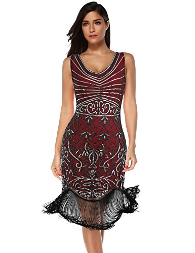 Women's Flapper Vintage Dresses 1920s Beaded Fringed Great Gatsby Dress (Red Silver, XL)
