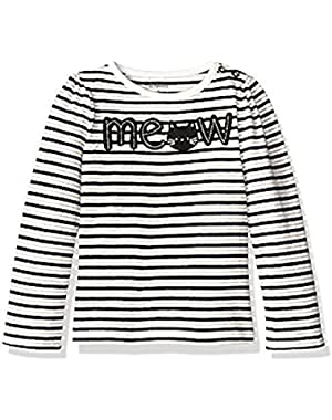 Baby Girls' and Toddler Striped Meow Graphic Tee, Multi, 3T