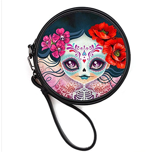 Round Skull Leather Sugar Makeup Day Bag Sugar the Female Cosmetis Round Makeup Fashion Dead Bags04 Case of Print w7EqdCw