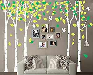 LUCKKYY Large Five Trees Wall Stickers Forest Mural Family Trees Wall Decals Family Room Art Decoration (White)