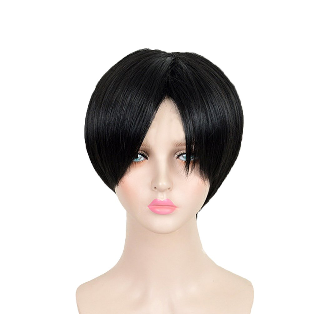 Amazon.com   Men s Short Black Hair Wig Male Straight Synthetic Cosplay  Party Costume Wigs   Beauty af62f9db8ec7